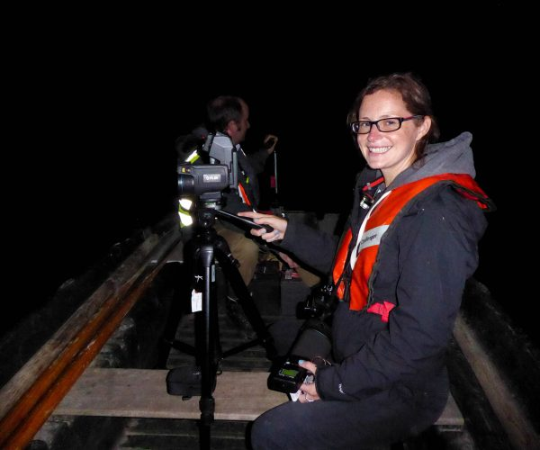 Senior Ecologist Helen Simmons undertaking a thermal imaging survey of Blenheim lake and the Grand Bridge.